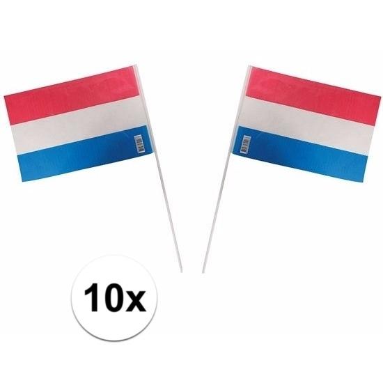 10 Holland zwaaivlaggetjes van plastic