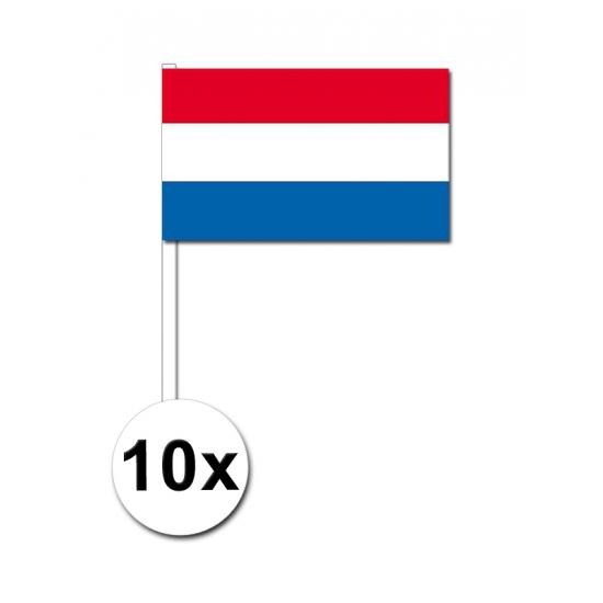 10 zwaaivlaggetjes Nederland 12 x 24 cm