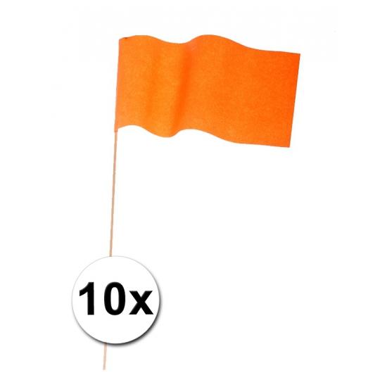 10 Zwaaivlaggetjes oranje