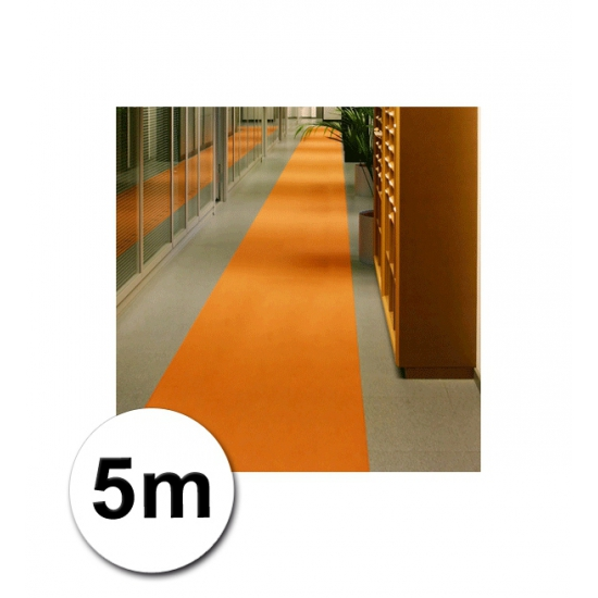 5 meter lange oranje decoratie loper 1 meter breed