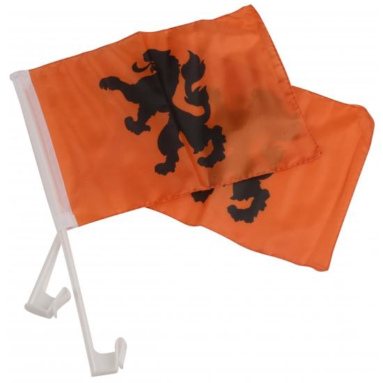 Autovlaggen oranje KNVB leeuw 20 x 30 cm