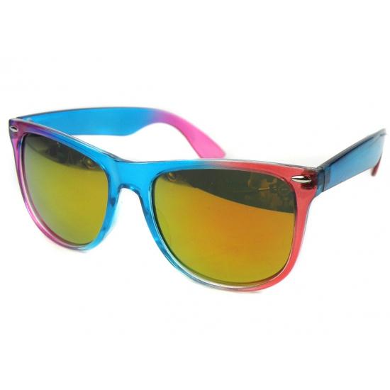 Blauw met roze spiegel zonnebril