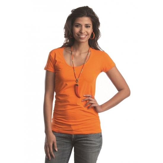 Bodyfit oranje dames shirt met ronde hals