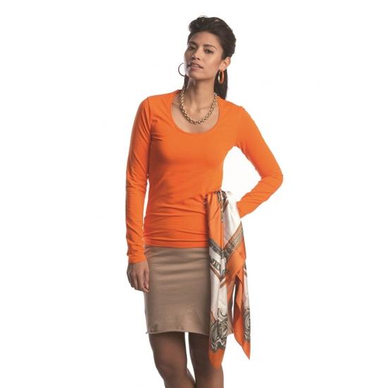 Bodyfit oranje dames shirts met lange mouwen