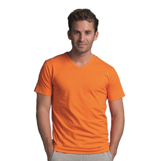 Casual oranje heren V hals shirt