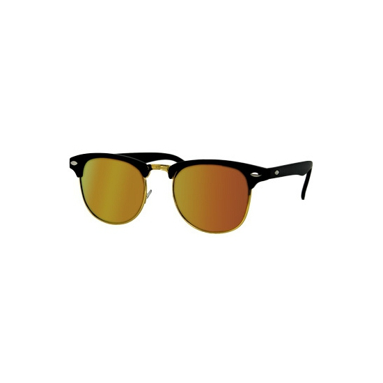 Clubmaster zonnebril mat zwart met oranje
