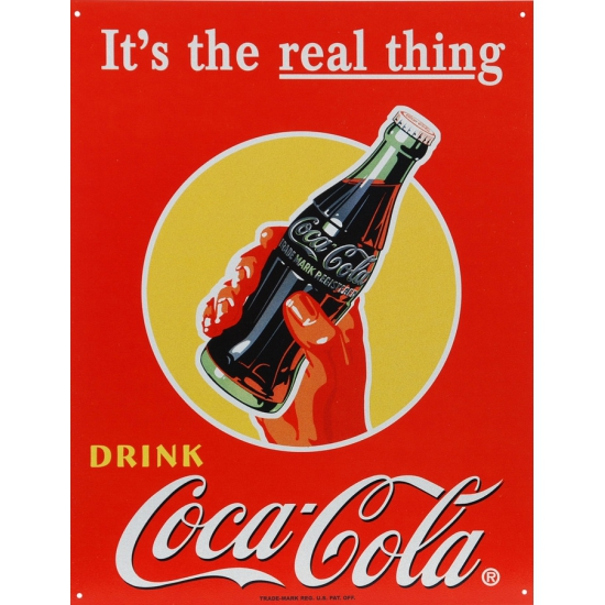 Coca Cola the real thing muurdecoratie metaal 32 x 41 CM