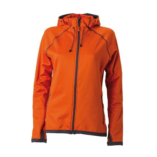 Damesvest van fleece stof oranje