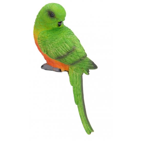 Decoratie papegaai groen met oranje
