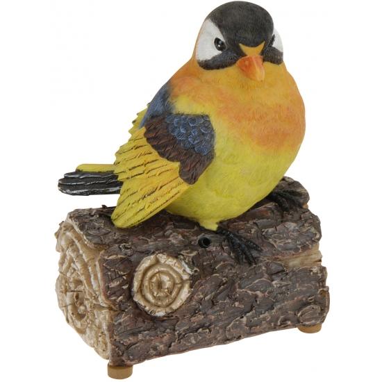 Decoratie vogeltjes met geluid oranje/geel