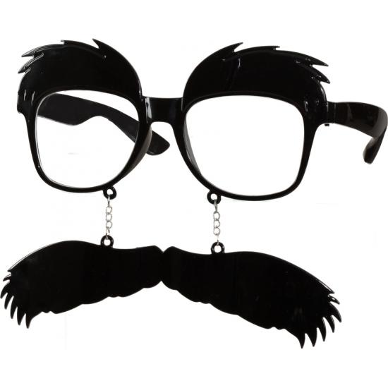 Doorzichtige bril met snor