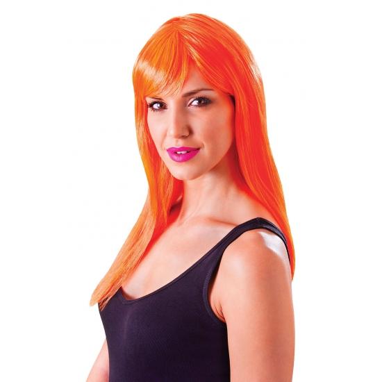 Feest damespruik neon oranje met pony