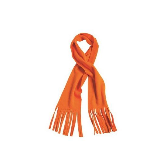 Fleece sjaal met franjes oranje