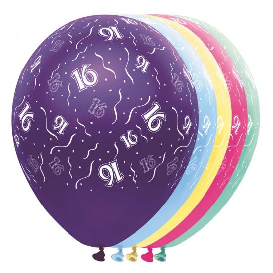 Gekleurde helium ballonnen 16 jaar