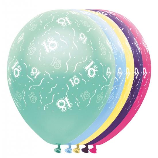 Gekleurde helium ballonnen 18 jaar