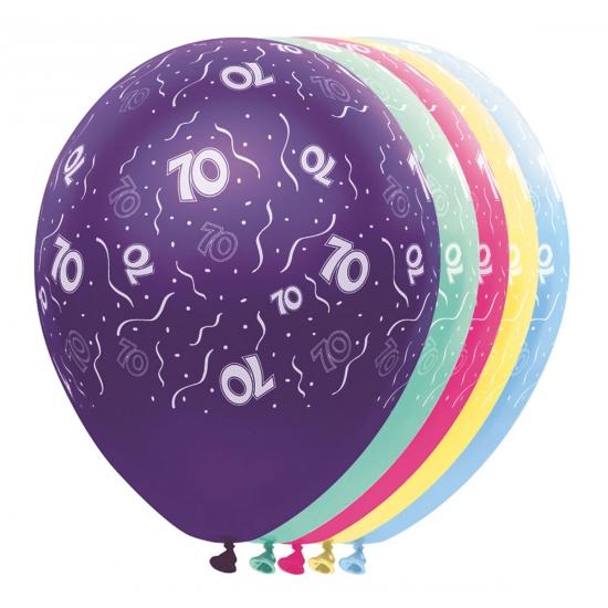 Gekleurde helium ballonnen 70 jaar