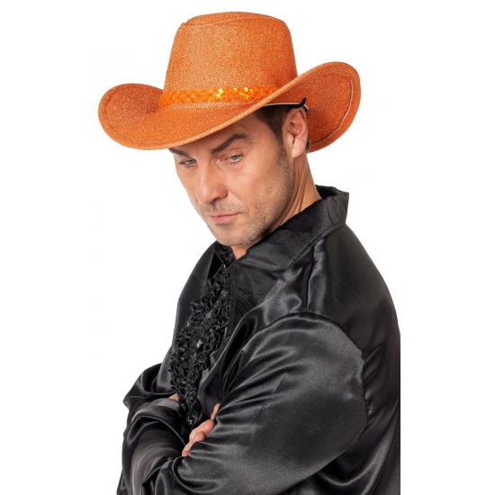 Glitter cowboyhoeden oranje