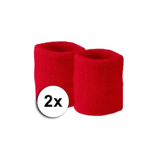 Goedkope zweetbandjes rood 2 stuks