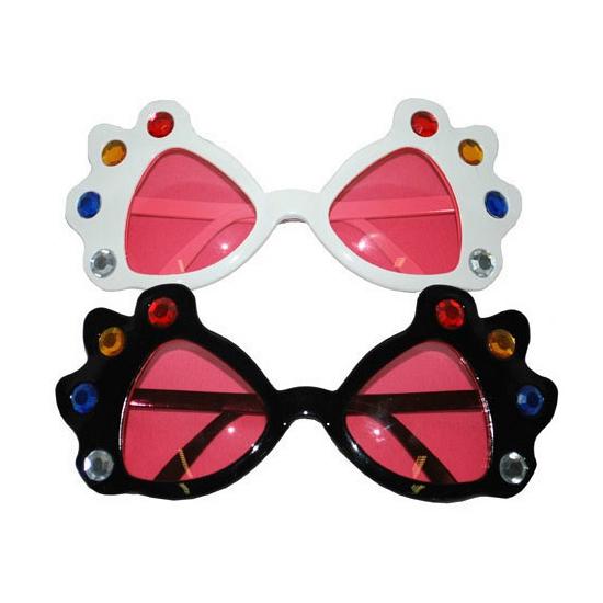 Grote party bril met roze glazen