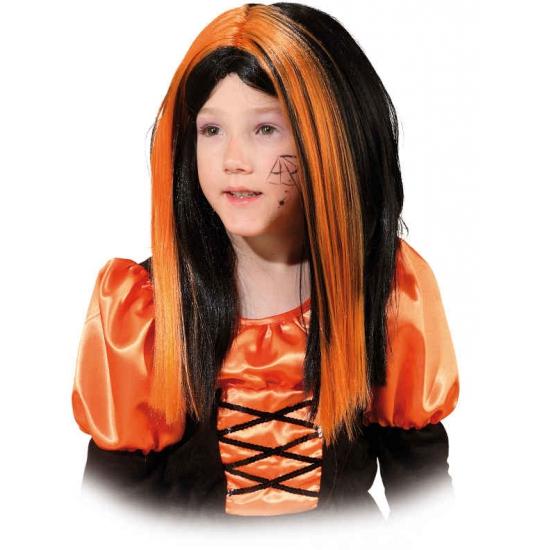 Heksenpruik voor meiden zwart/oranje