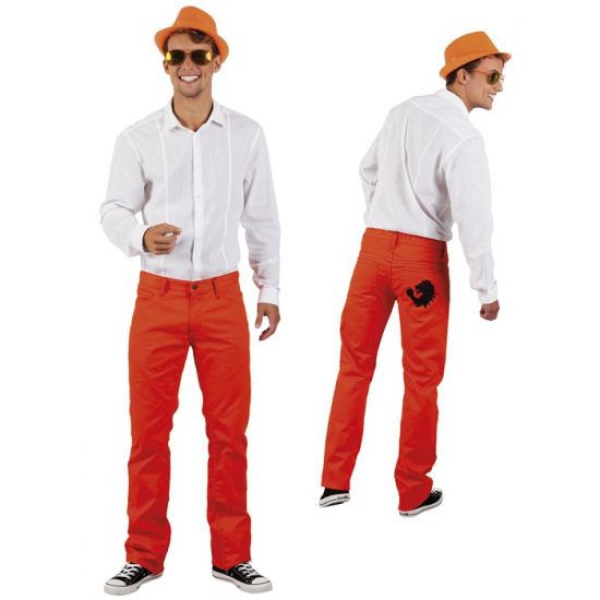 Heren spijkerbroek oranje voetbal