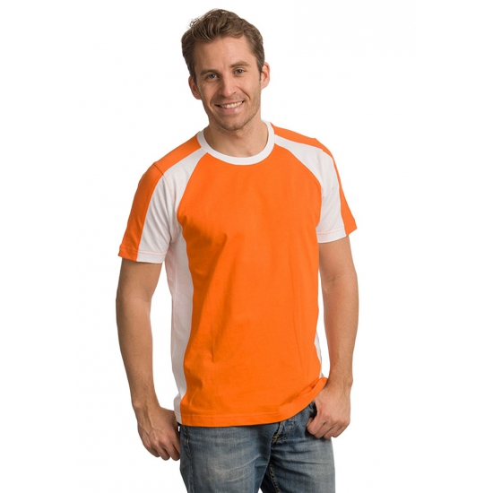 Heren supporters t shirt oranje wit