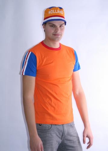 Heren t shirt rood, wit en blauw