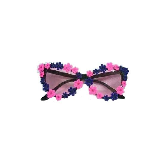 Hippie bril met blauwe en roze bloemetjes