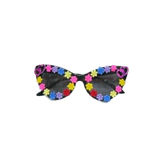 Hippie bril met gekleurde bloemetjes