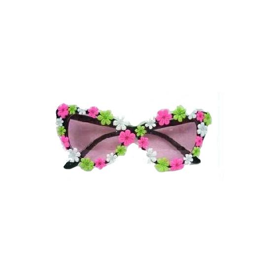 Hippie bril met groen, roze en witte bloemetjes