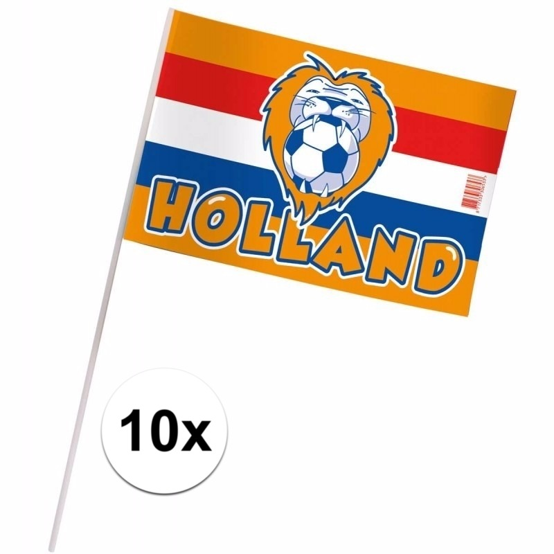 Holland fan zwaaivlaggetjes 10 x