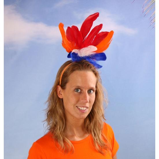 Holland haarband met veren rood wit blauw