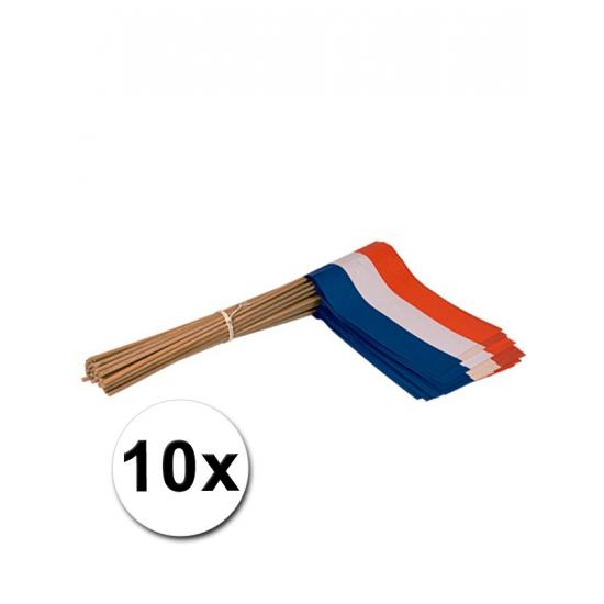 Holland zwaai vlaggetjes 10 stuks