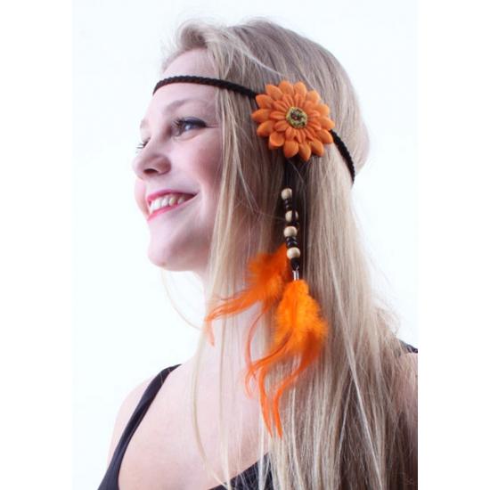 Hoofdbandjes met oranje bloem en veren