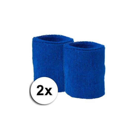 Kobalt pols zweetbandjes 2 stuks