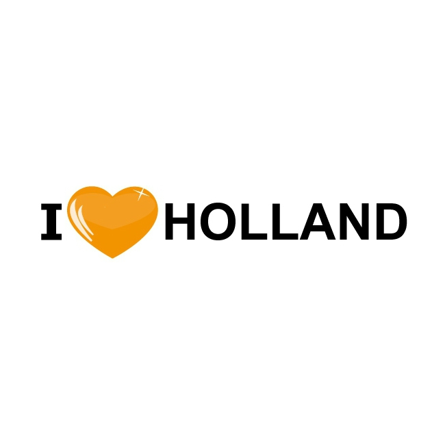 Koffer stickers I Love Holland oranje