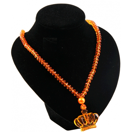Kralenketting met kroon oranje
