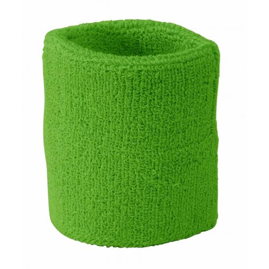 Lime groen zweetbandje voor de pols