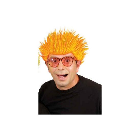 Neon oranje punk pruik