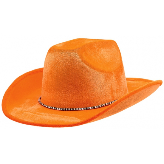 Oranje cowboyhoed met koordje