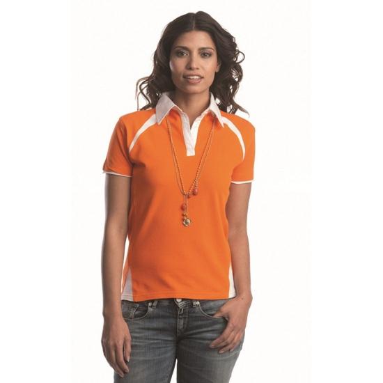 Oranje dames contrast poloshirt