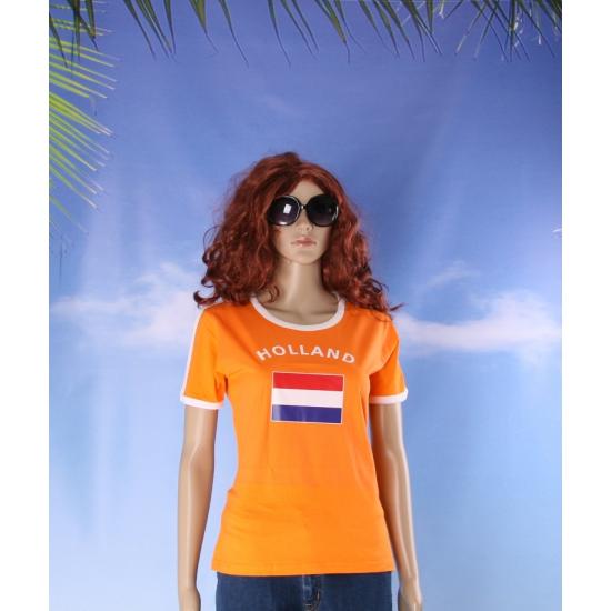 Oranje dames shirtje met Holland vlag