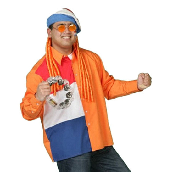 Oranje feest overhemd Nederlandse vlag voor heren