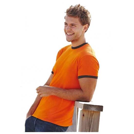 Oranje heren t shirts met khaki contrast randen