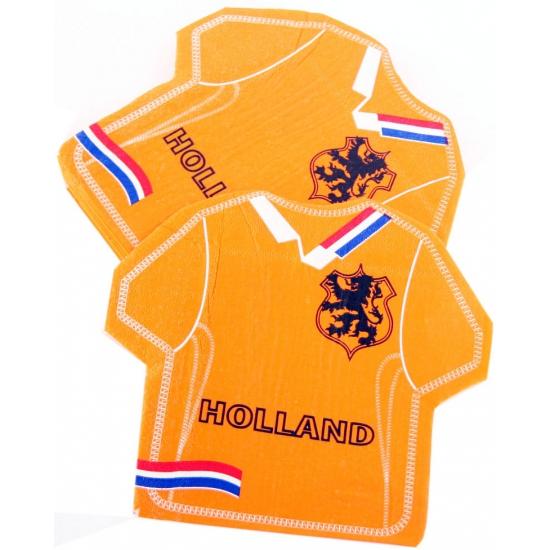 Oranje Holland servetten in shirt vorm