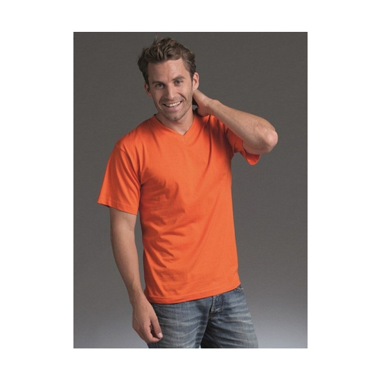 Oranje kleding v hals shirts