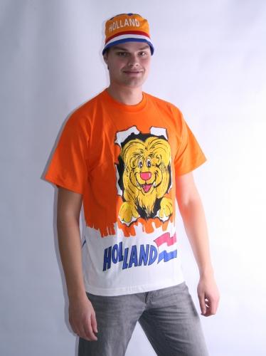 Oranje leeuwen t shirt dubbel print