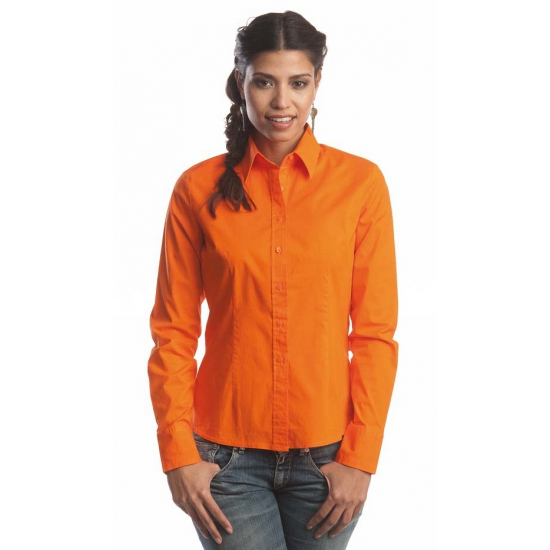 Oranje longsleeve overhemd voor dames