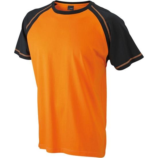 Oranje met zwart heren t shirt van katoen