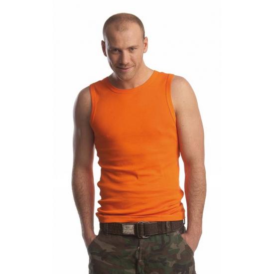 Oranje mouwloos heren shirt